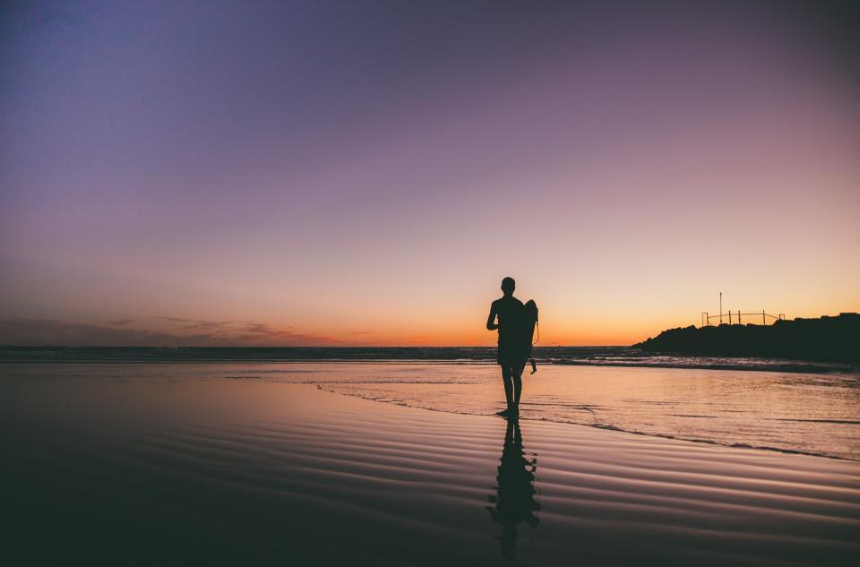 surfer, surfboard, beach, ocean, sea, shore, guy, man, people, shadow, silhouette, nature, dusk, sunset, sky, water
