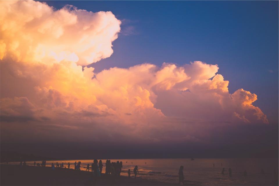 sunset, clouds, sky, people, beach, sand, ocean, sea