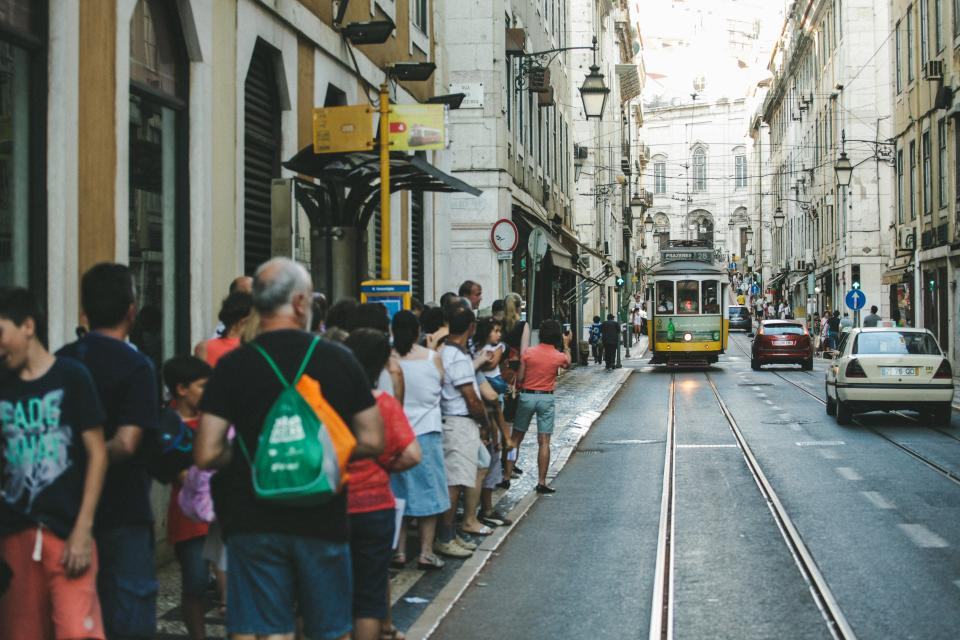 people, pedestrians, crowd, city, streets, road, urban, street car, tram