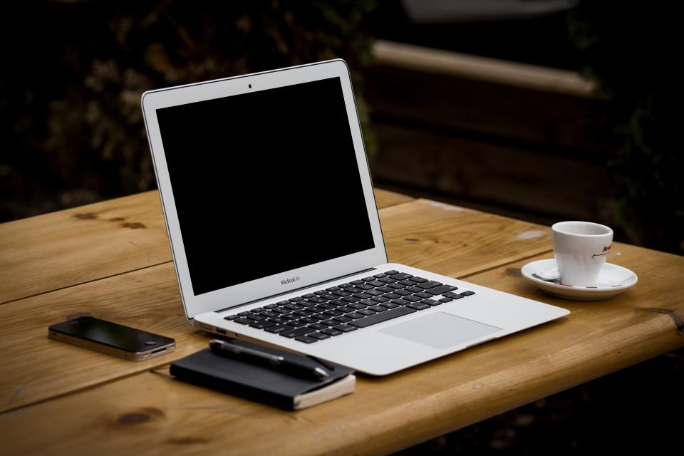 macbook air, laptop, computer, notepad, pen, iphone, table, wood, coffee, espresso, technology, business, apple