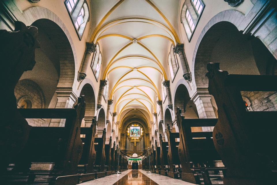 church, cathedral, benches, pews, religion, ceiling, religious