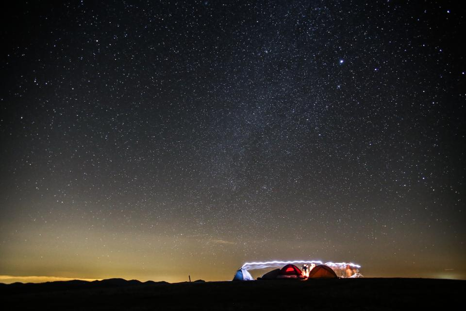 nature, sky, horizon, night, stars, constellation, camping, tents, light, long exposure