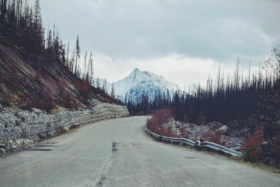 road, landscape, nature, trees, mountains, peaks, summit, sky, clouds