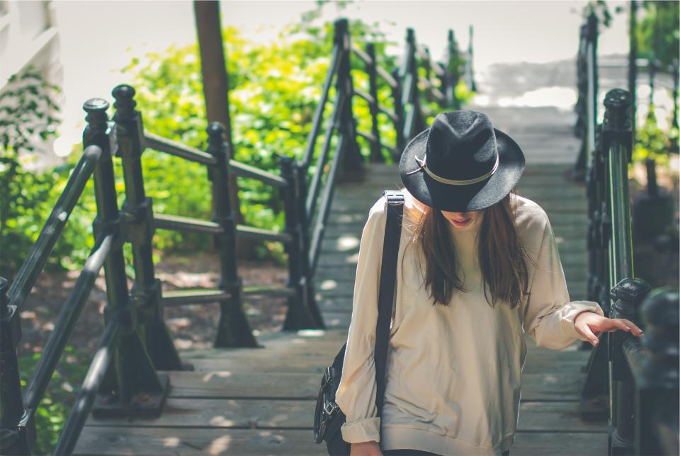 young, girl, woman, long hair, brunette, people, fashion, clothes, hat, fedora, shirt, bag, railing, wood, steps