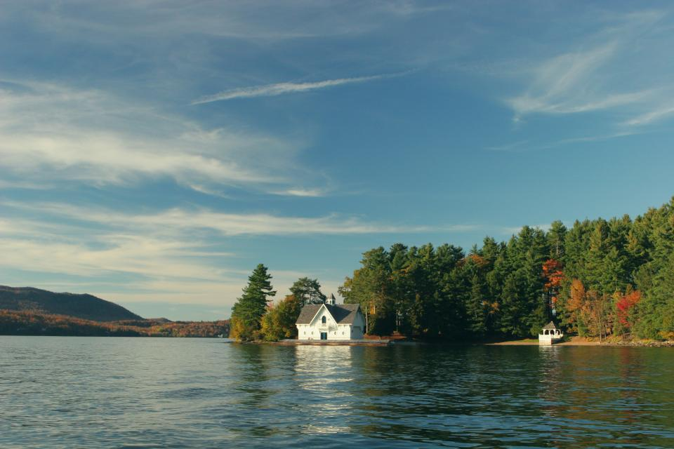 lake, water, house, cottage, country, nature, outdoors, mountains, forest, trees, autumn, colors