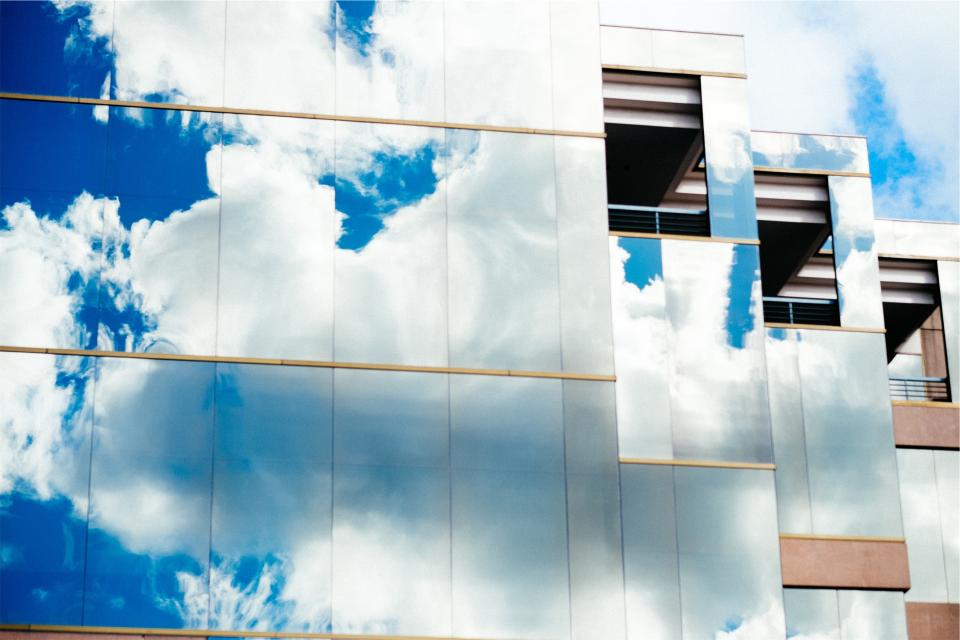 building, windows, reflection, clouds, sky, architecture