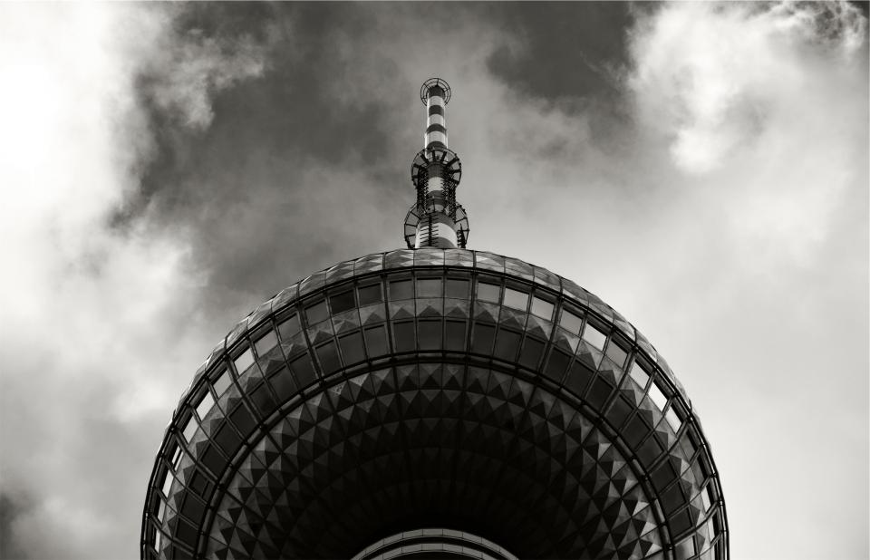sky, clouds, tower, architecture, black and white