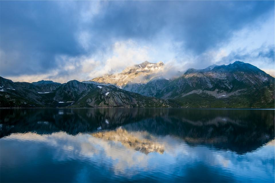 mountains, peaks, hills, cliffs, water, lake, nature, sky, clouds