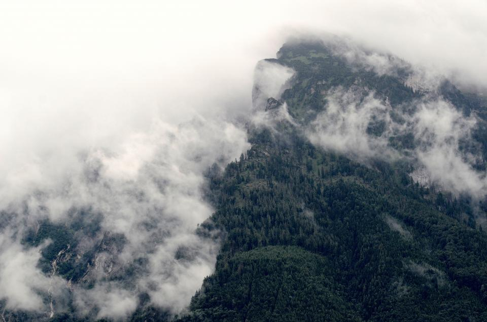 grey, sky, clouds, mountains, cliffs, hills, green, trees, outdoors, nature, hike, trek