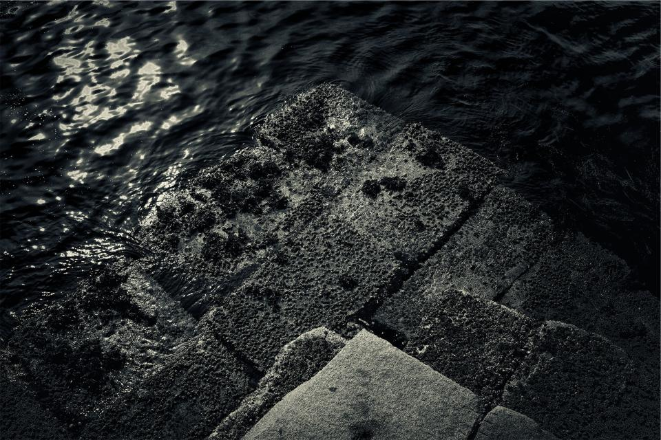 stones, concrete, water