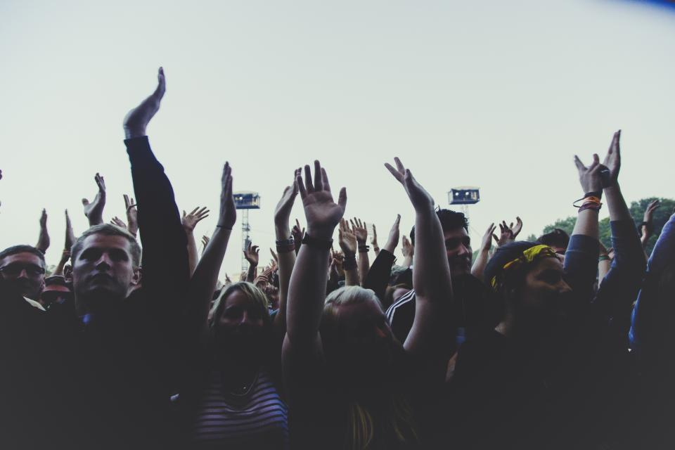 people, crowd, hands, group, party, concert, celebration