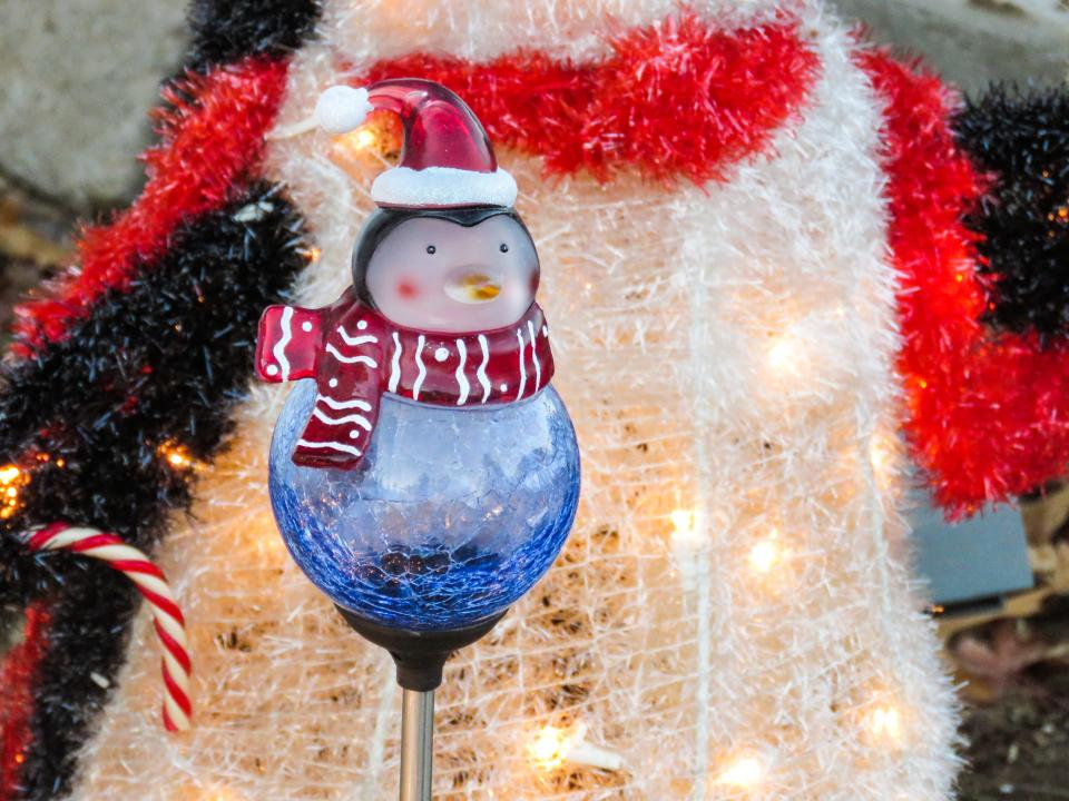 winter, christmas, decorations, lights, penguin, hat, scarf