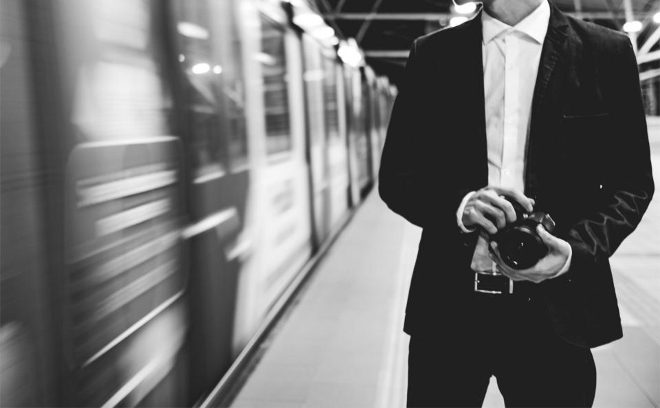 subway, train, station, transportation, urban, black and white, guy, man, people, camera, photographer, fashion