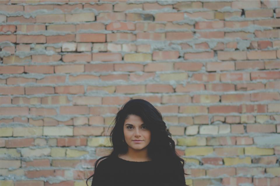 young, girl, model, woman, people, pretty, cute, beautiful, long hair, black, face, makeup, bricks, wall