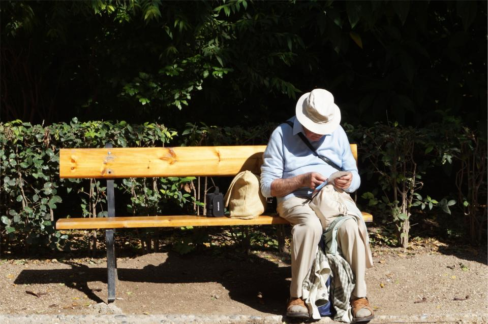 old, man, elderly, reading, hat, wood, bench, sitting, people