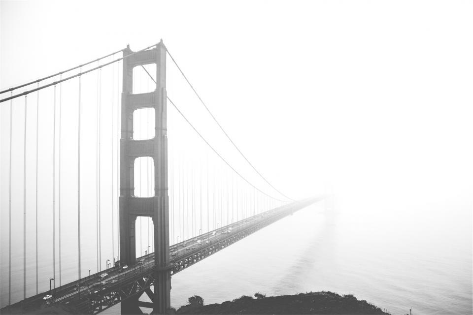 Golden Gate Bridge, San Francisco, architecture, fog, black and white