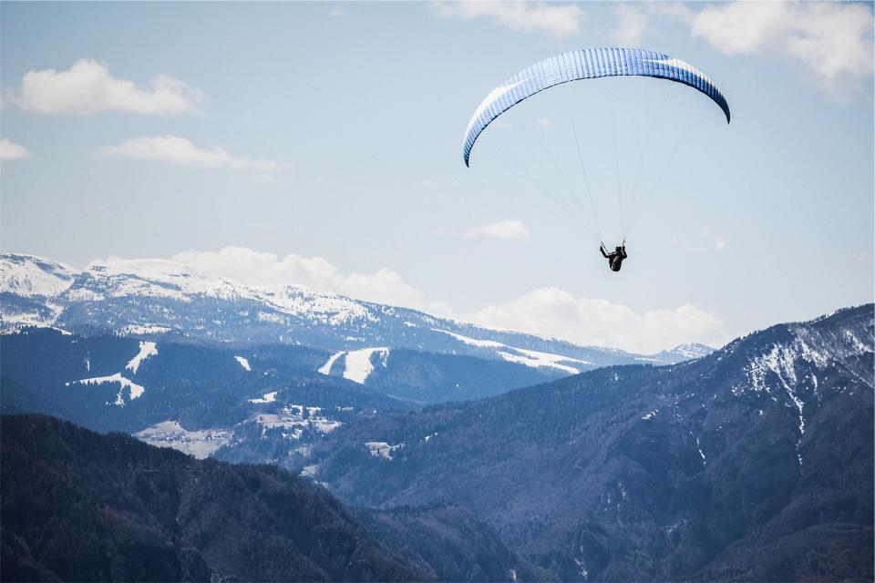 landscape, mountains, paragliding, parachute, snow, sky, valleys, sports