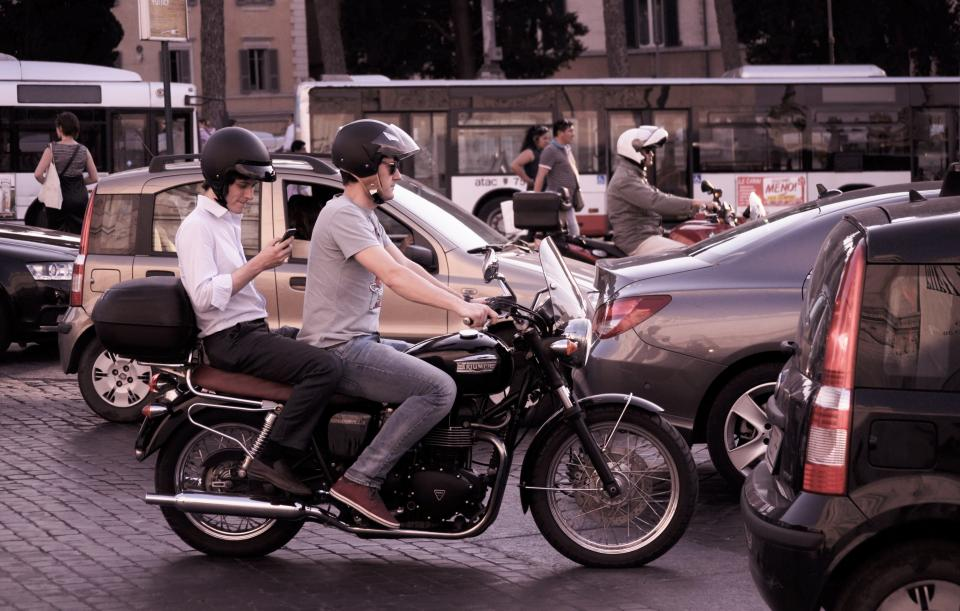 motorbike, motorcycle, cars, traffic, city, streets, roads, urban, helmets
