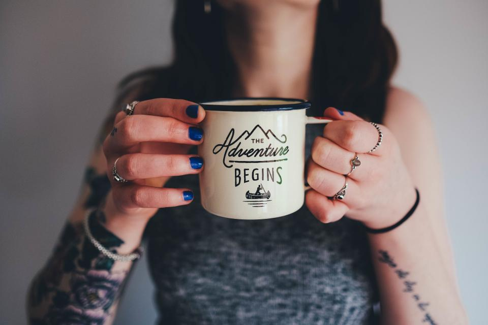 coffee, tea, cup, mug, adventure, girl, woman, people, hands, tattoos