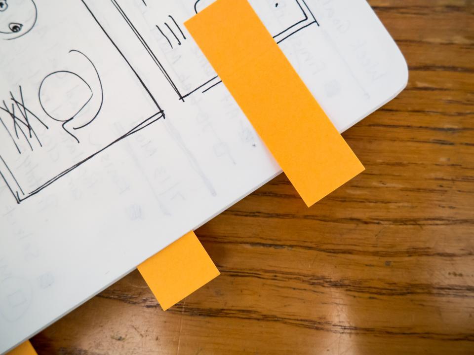 notebook, mockups, sketch, design, creative, sticky notes, business, office, desk, work