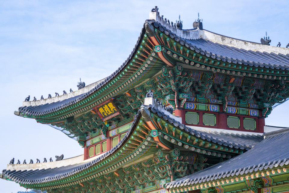 architecture, castle, gyeongbokgung, Gyeongbok, palace, Korea, colors, patters, shingles, art, sky, clouds