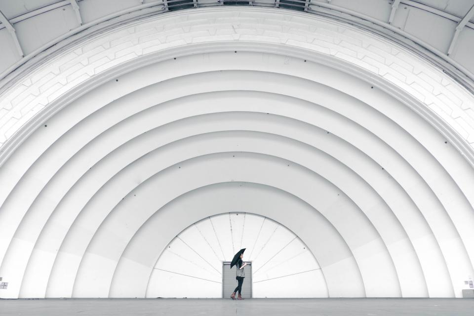 girl, woman, umbrella, white, arches, architecture, urban, people