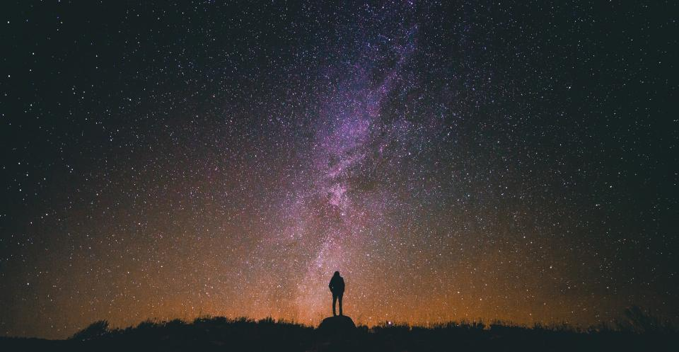 stars, galaxy, space, night, dark, evening, silhouette, people