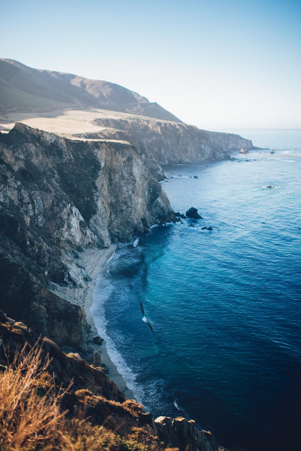 nature, landscape, mountain, coast, beach, shore, sea, waves, water, blue, rocks, sky, horizon