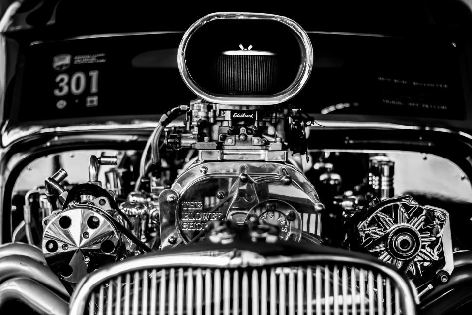 technology, transportation, engine, motor, vehicle, car, automotive, black and white, still