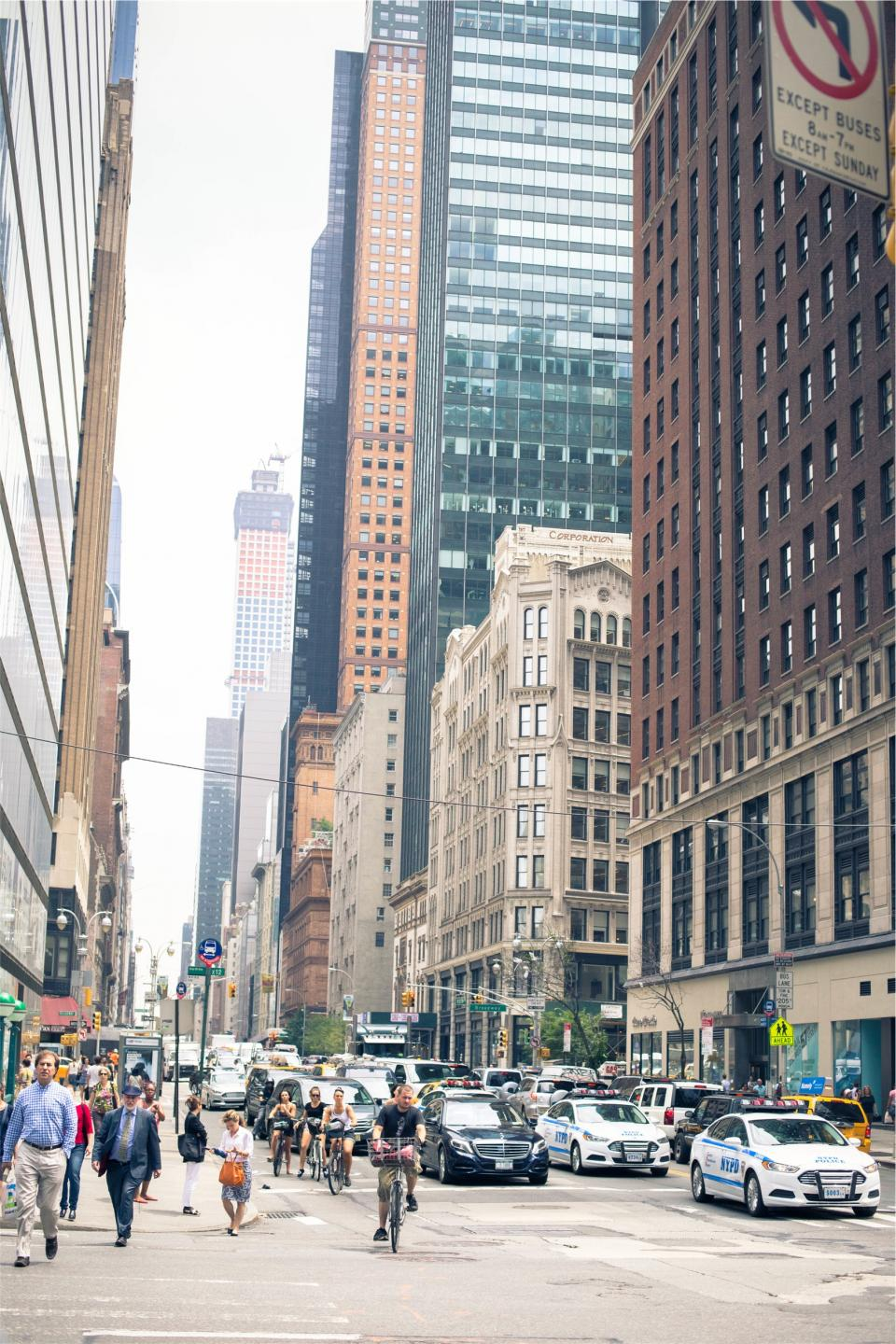 NYPD, NYC, New York, city, streets, roads, cars, people, pedestrians, crosswalk, buildings, urban, towers, traffic