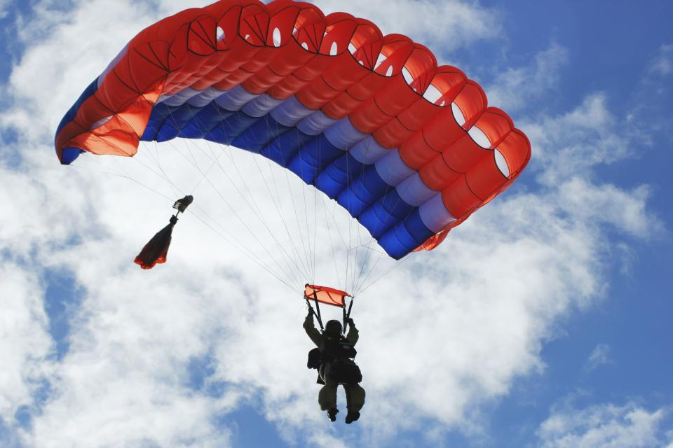 sky, clouds, fly, parachute, adventure, people, man