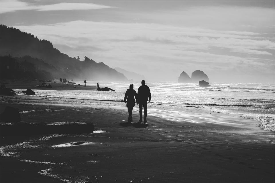 couple, love, holding hands, people, romance, romantic, beach, sand, shore, ocean, sea, waves, black and white