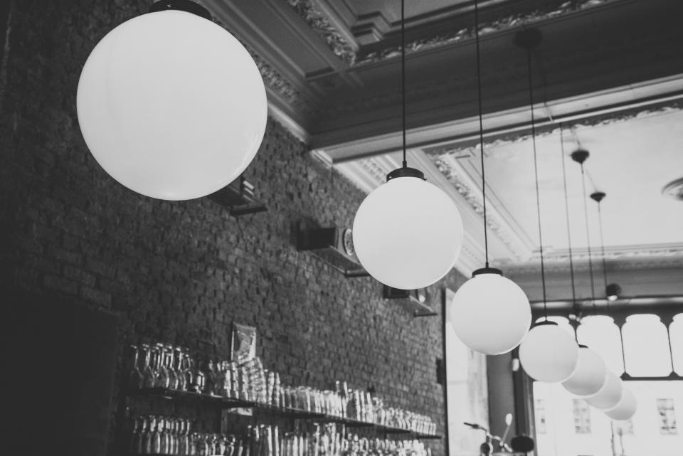 lights, fixtures, decor, bar, restaurant, glasses, bricks, building, architecture, ceiling, black and white