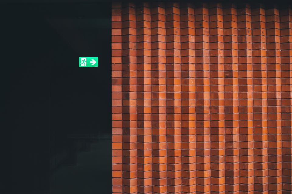 wall, bricks, concrete, grout, patterns, textures, squares, orange, vermilion, signage, door
