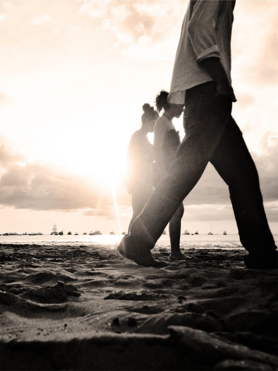 beach, sand, people, walking, sunset