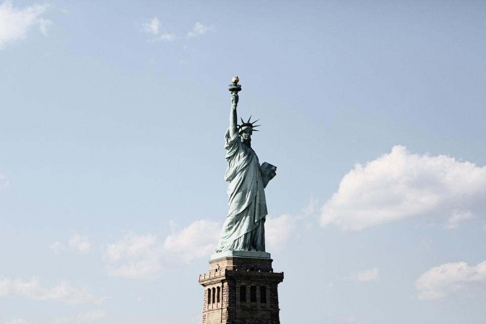 Statue of Liberty, architecture, New York, freedom, blue, sky, clouds