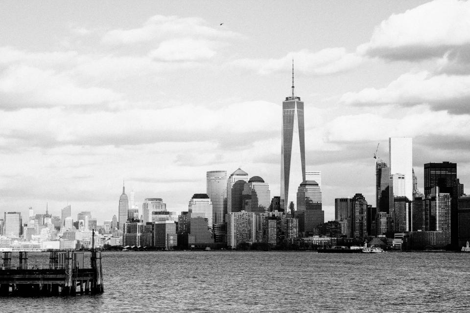 New York, city, NYC, buildings, architecture, towers, high rises, skyscrapers, water, sky, clouds, black and white, urban