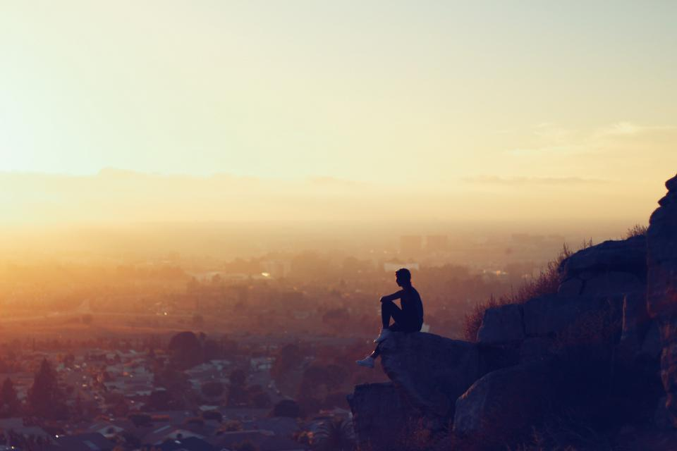 sunset, dusk, girl, looking, lookout, people, silhouette, shadow, city, town, rocks, cliff, aerial, view, sky, landscape