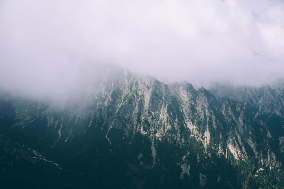 mountains, peaks, clouds, sky, cliffs, fog