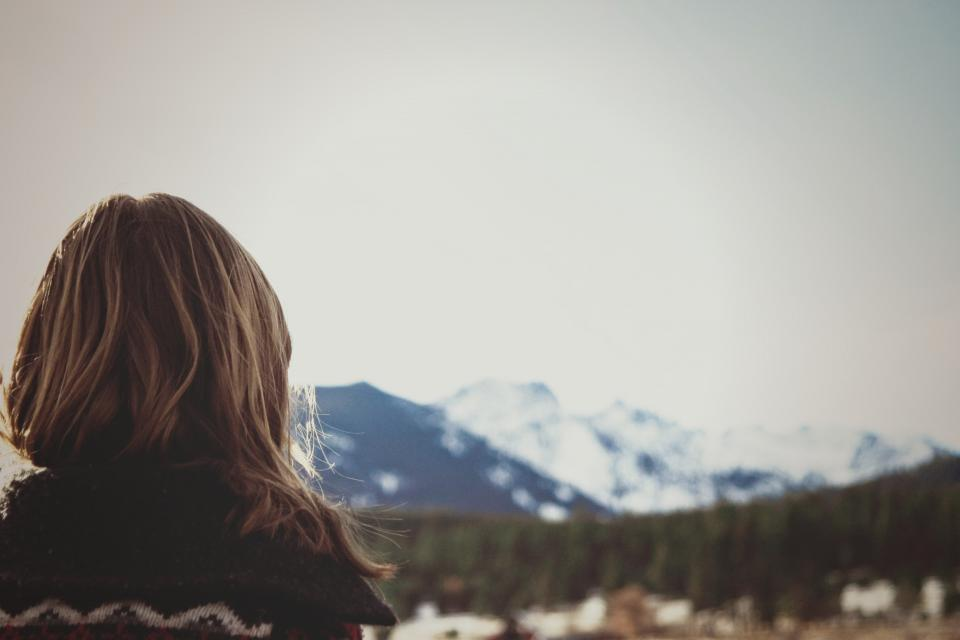 girl, landscape, mountains, outdoors, nature, long hair, brunette, woman, people, looking