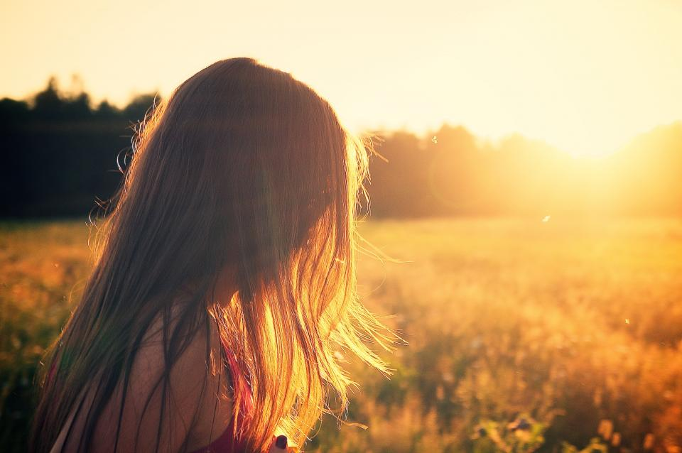sunset, sunshine, girl, hair, brunette, fields, sunrays, people