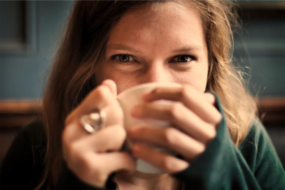 girl, woman, smile, smiling, happy, coffee, tea, cup, drinking, eyes, people, hands