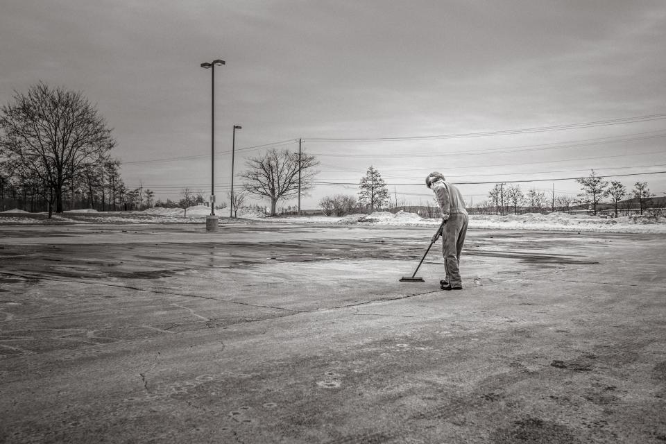 sweeping, broom, cleaning, man, concrete, lot