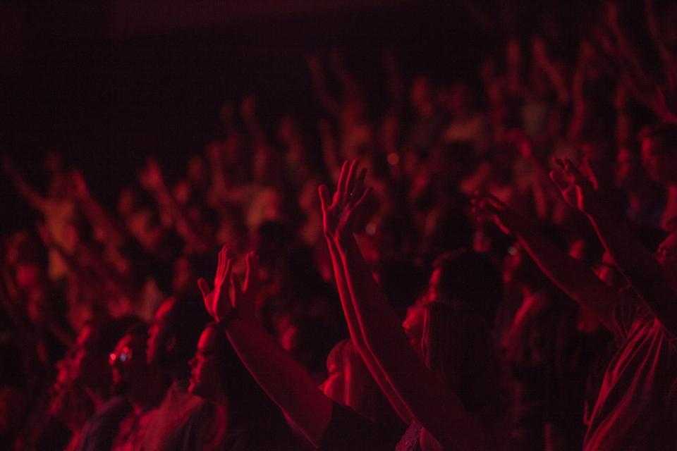 people, crowd, concert, party, show, spectators, fun, hands, entertainment, dark, stadium, dark