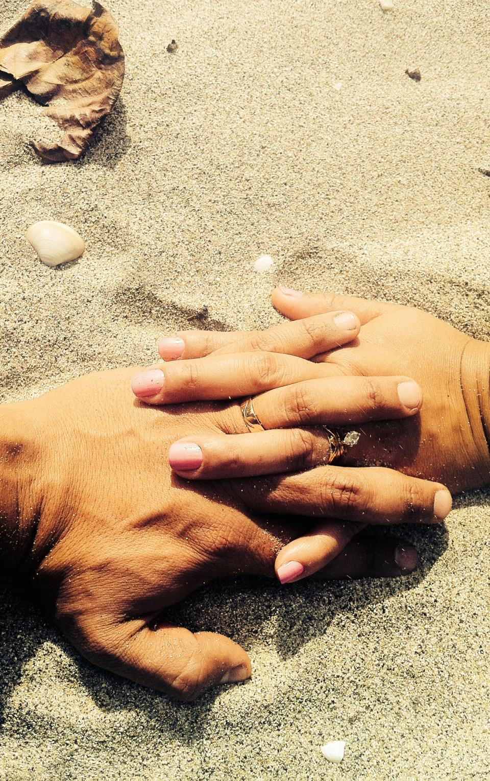 holding hands, engagement, wedding rings, love, romance, romantic, sand