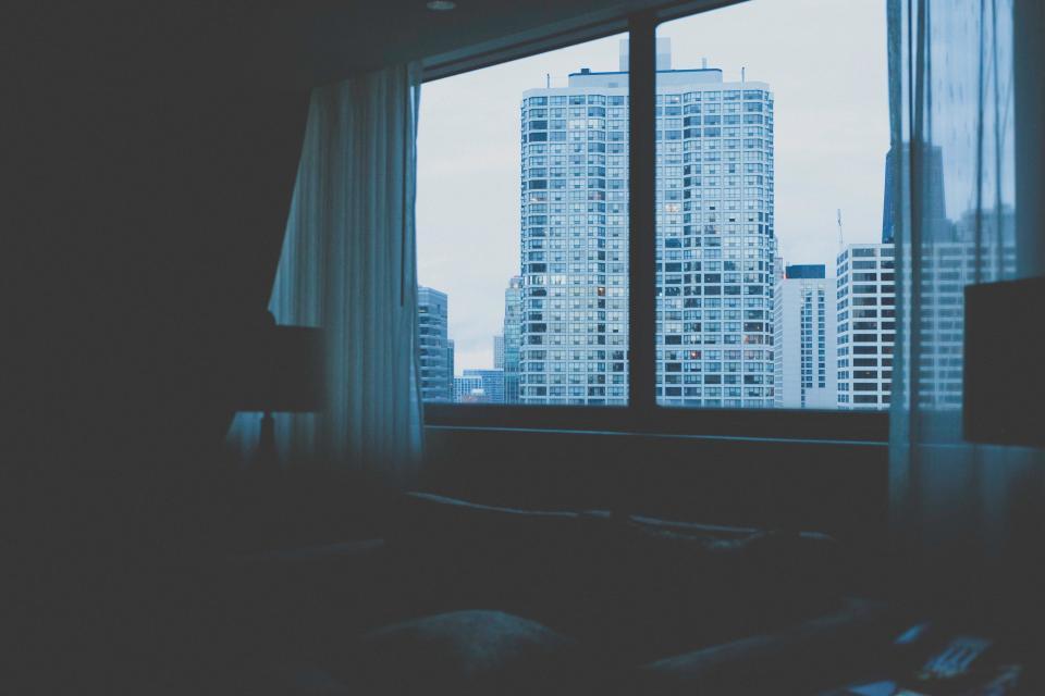 hotel, bedroom, window, curtains, city, urban, condos, buildings