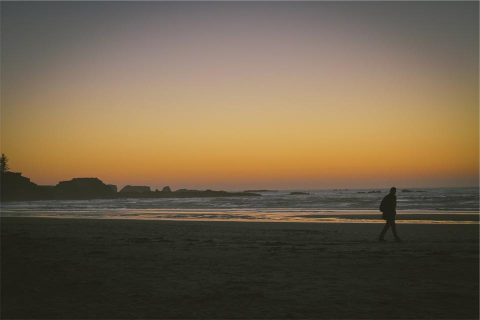 sunset, beach, sand, shore, waves, ocean, sea, guy, man, walking, people