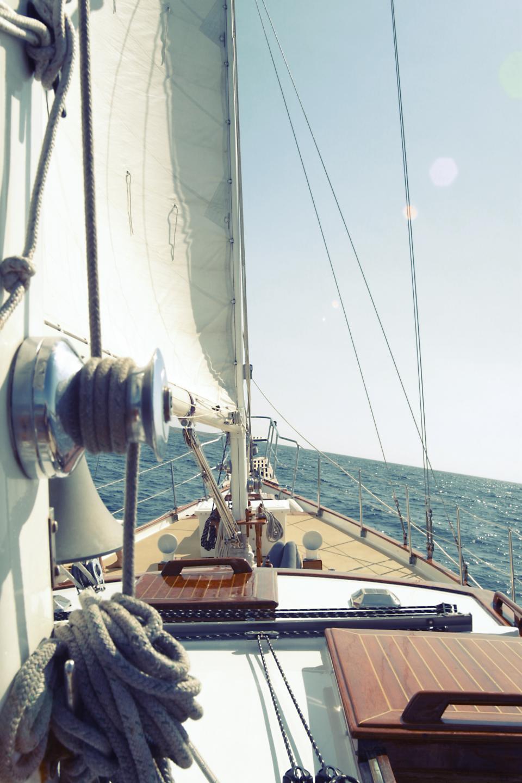 sailboat, sailing, deck, bow, rope, water, ocean, sea, waves, sunshine