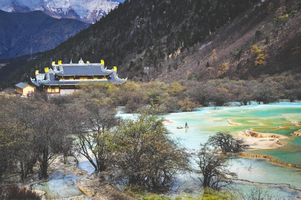 landscape, nature, mountains, hills, trees, water, temple, culture, Huang Long, Sichuan, China