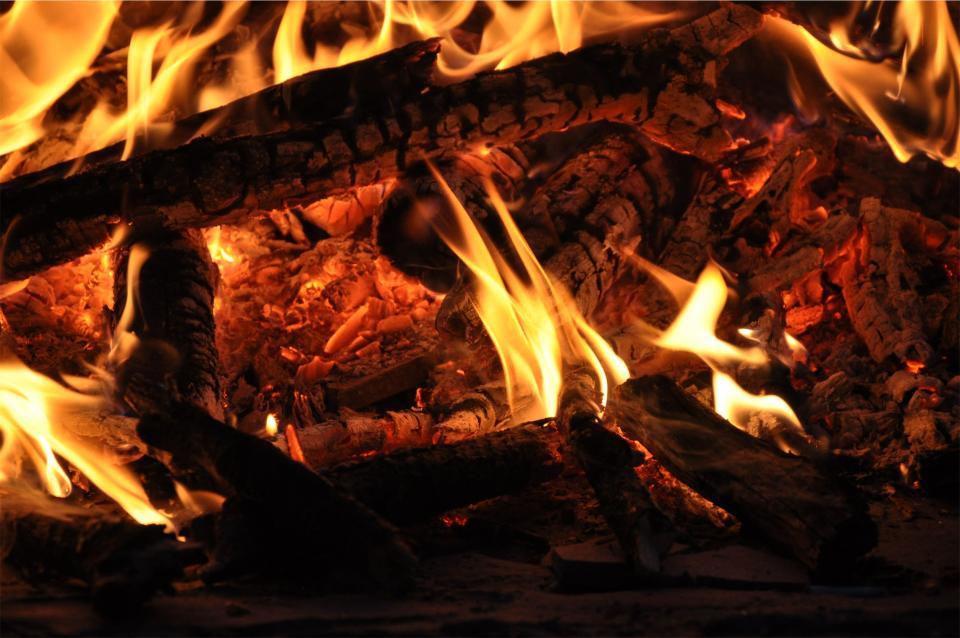 bonfire, fire, flames, wood, logs